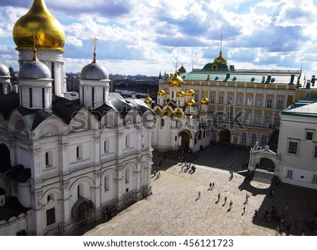 Beautiful view on the Archangel Cathedral and Cathedral square of the Moscow Kremlin, Moscow, Russia - stock photo