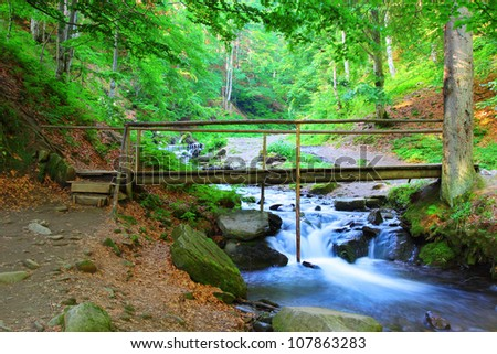Beautiful view on the bridge across the river coming from Shypit waterfall in Ukraine - stock photo