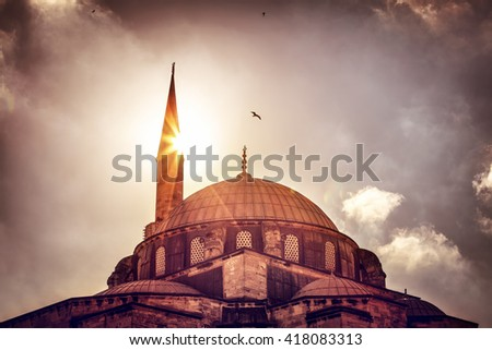 Beautiful view on the mosque over sunset light, amazing architectural heritage, historical landmark of Istanbul, Turkey - stock photo