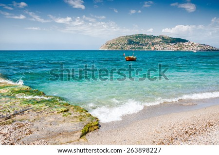 Beautiful view on the sea coast. Alanya, Turkey. Beautiful summer landscape - stock photo