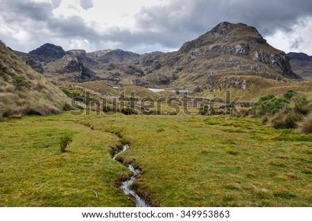 Beautiful view over El Cajas National Park, Ecuador. - stock photo
