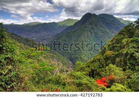 Beautiful view over the El Yunque national forest in Puerto Rico - stock photo
