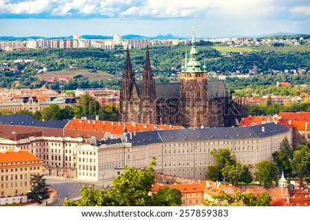 Beautiful view to cathedral Saint Vitus and Prague castle, Czech republic - stock photo