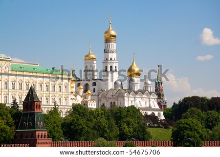 Beautiful view to Kremlin churches, Moscow under blue sky - stock photo