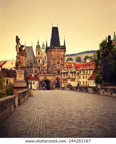 Beautiful view to Mala Strana and Charles bridge, Prague, Czech republic - stock photo