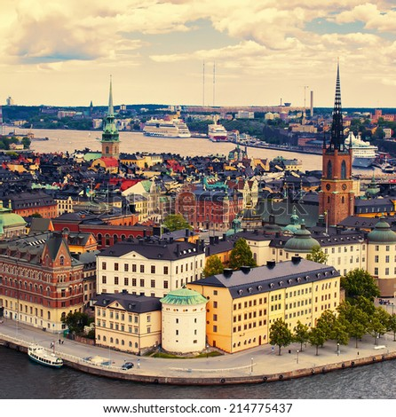 Beautiful view to Stockholm and Gamla Stan old town in sunset, Sweden - stock photo