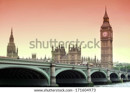 beautiful view to Sundown at Big Ben and Westminster bridge, London gothic architecture, UK - stock photo
