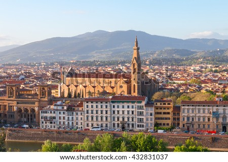 Beautiful views of Florence city at sunset in Italy, Europe - stock photo