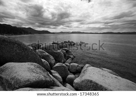 Beautiful Views of Lake Tahoe Black and White - stock photo