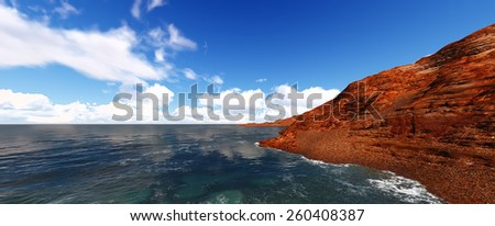 Beautiful views of the sea and Islands. Summer landscape. 3d render - stock photo