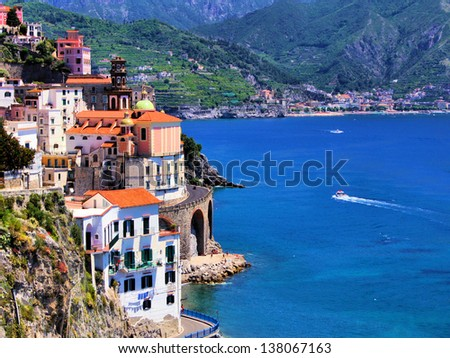 Beautiful village of Atrani along the Amalfi Coast, Italy - stock photo