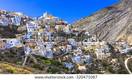 beautiful villages of Greece - impressive Olimbos in Karpathos island - stock photo