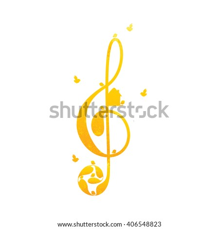 Beautiful vintage golden colored treble clef with floral elements, nesting box and birds on white background. Greeting card / invitation template. Design element - stock photo