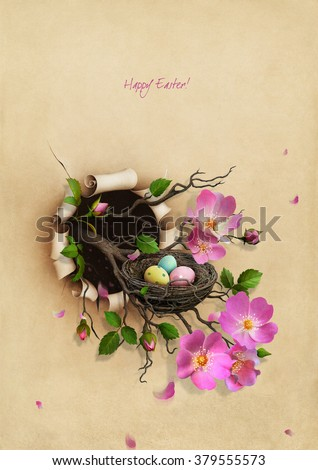 Beautiful Vintage Greeting Easter card with  floral branch and  nest with eggs - stock photo