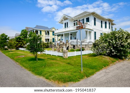 Beautiful vintage homes of the historical district in Galveston, Texas. - stock photo
