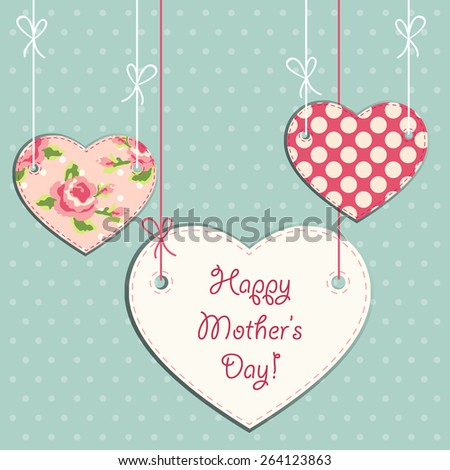Beautiful vintage Mother's Day card with hearts on strings in shabby chic style - stock photo