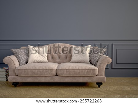 Beautiful vintage sofa next to wall. 3d rendering - stock photo
