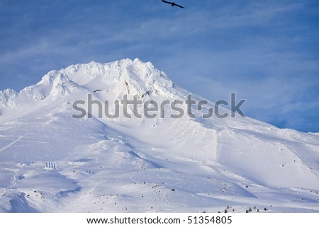 Beautiful Vista of Mount Hood in the Pacific Northwest with Cloudy Blue Sky at Dusk. - stock photo