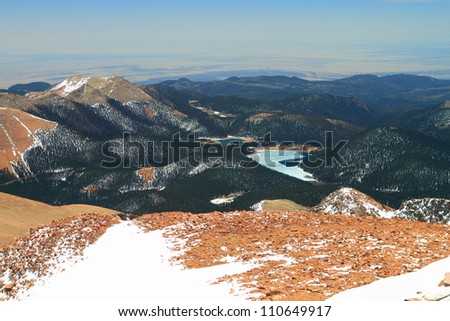 Beautiful vistas from the top of Pikes Peak Mountains in Colorado, USA - stock photo