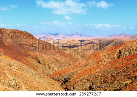 Beautiful volcanic landscape of Fuerteventura, Canary Islands, Spain. - stock photo