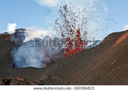 Beautiful volcanic landscape of Kamchatka: eruption Tolbachik Volcano. Russia, Far East, Kamchatka Peninsula. - stock photo