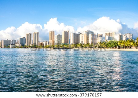 Beautiful Waikiki beach view on Honolulu, Hawaii from the ocean - stock photo
