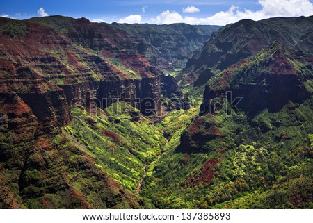 Beautiful Waimea Canyon  from the air in Kauai - stock photo
