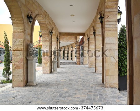 beautiful walkway with arches - stock photo