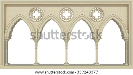 Beautiful wall with columns isolated on white - stock photo