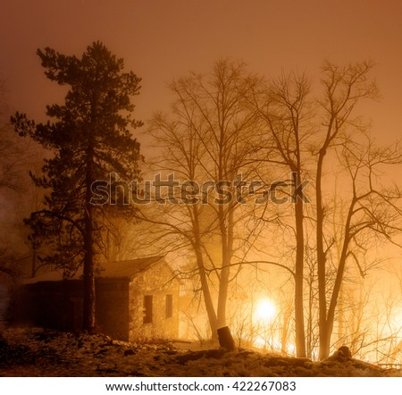 Beautiful warm light and shadows in sundown with trees, winter scene in Greece - stock photo