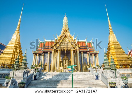 Beautiful Wat Pra Kaew, The Grand Palace, blue sky, Bangkok Thailand - stock photo