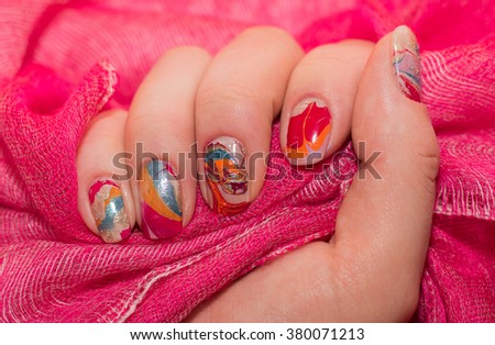 beautiful water female manicure. nails - stock photo