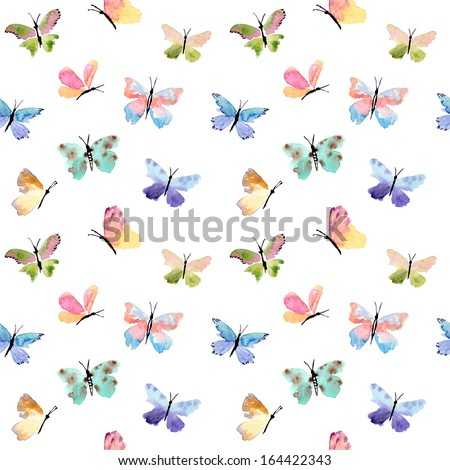 Beautiful watercolor butterflies pattern - stock photo