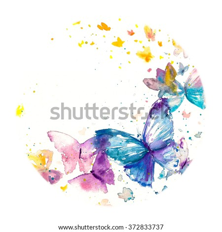 Beautiful watercolor butterfly on white paper background. - stock photo