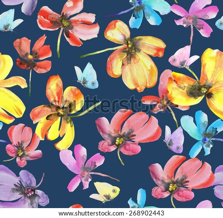 Beautiful watercolor floral seamless pattern. Tulips with butterflies, abstract watercolor hand painting background - stock photo