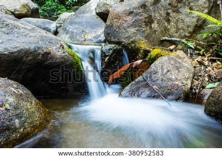 beautiful waterfall - stock photo