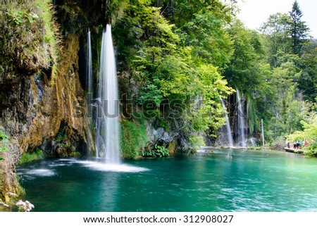 Beautiful Waterfall at Plitvice Lakes National park (Croatia) - stock photo