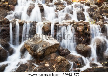 Beautiful Waterfall. Beauty nature background - stock photo