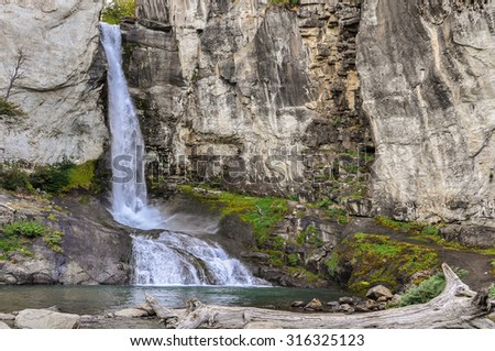 Beautiful waterfall close to El Chalten, Patagonia, Argentina - stock photo