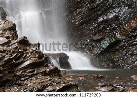 """Beautiful waterfall """"Huk"""" in the Carpathians. Ukraine - stock photo"""