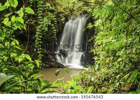 Beautiful waterfall in a clearing in a rain forest in Costa Rica. - stock photo