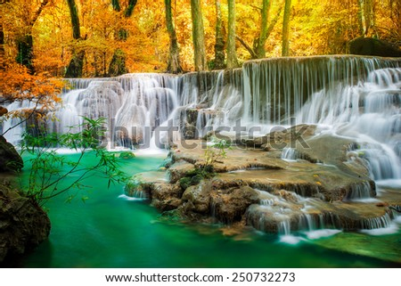 Beautiful waterfall in amazing forest   - stock photo