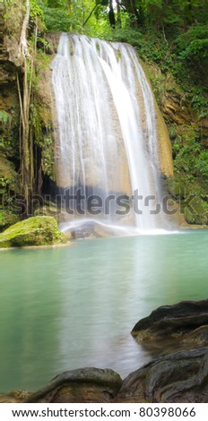 Beautiful Waterfall in deep forest - stock photo