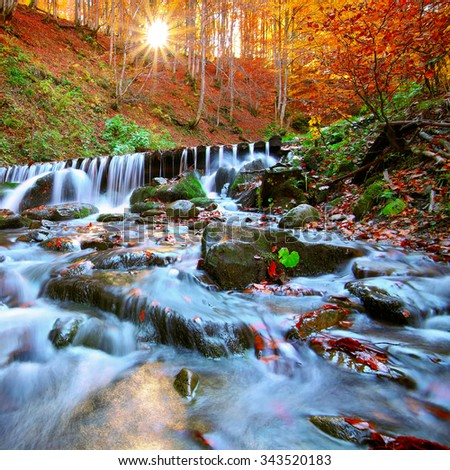 Beautiful waterfall in forest at sunset. Autumn landscape, fallen leaves, water flow. - stock photo