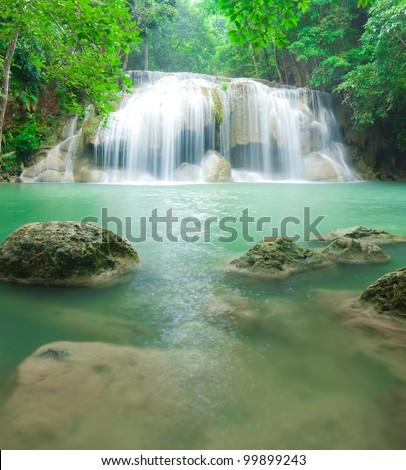 Beautiful waterfall in Kanjanaburi Thailand (Erawan waterfall) - stock photo