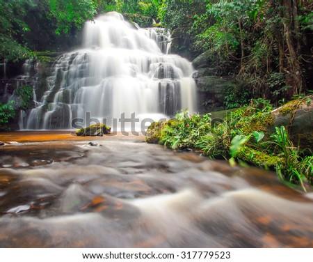 beautiful waterfall in Petchaboon, Thailand - stock photo