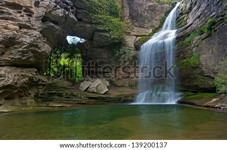 Beautiful waterfall in the Catalan pre-Pyrenees.La Foradada.Cantonigr�²s.Spain - stock photo