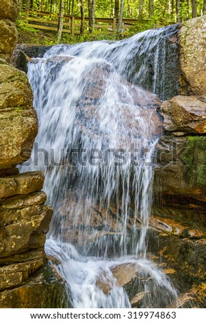 Beautiful waterfall in the White Mountains in New Hampshire, usa - stock photo