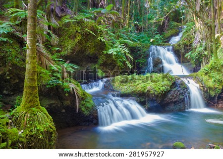 Beautiful waterfall in tropical rainforest in Hawaii - stock photo