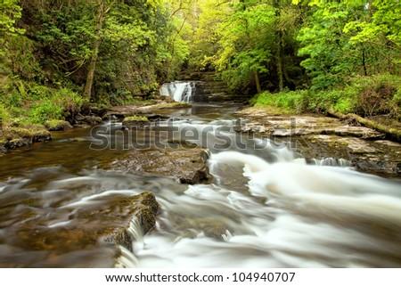 Beautiful waterfall of Clare Glens, Ireland. - stock photo